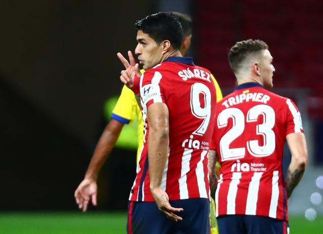 Suarez ghi tám bàn và đưa Atletico lên dẫn đầu sau 14 trận La Liga 2020-2021. Ảnh: Reuters.
