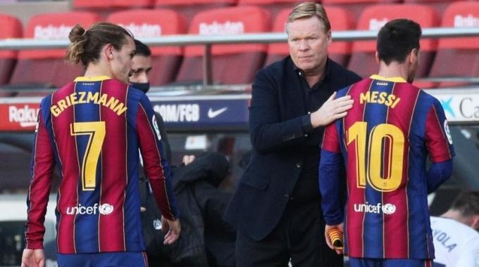 Griezmann và Messi là hai ngôi sao sáng giá nhất Koeman có trong tay lúc này. Ảnh: Reuters.