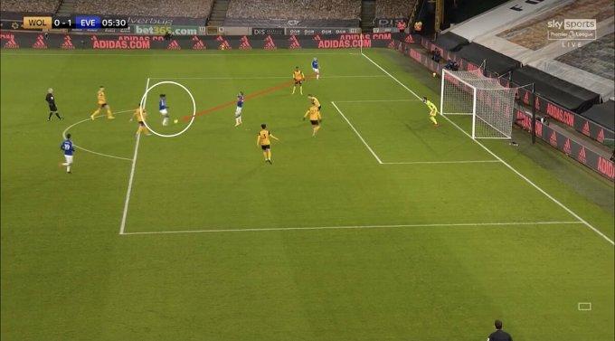 Iwobi (trong vòng tròn) không bị theo kèm khi nhận đường trả ngược của Digne để ghi bàn mở tỷ số. Ảnh chụp màn hình