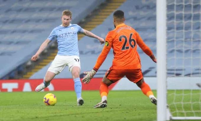 Man City tạo ra vô số cơ hội nhưng chỉ ghi được một bàn. Ảnh: Reuters.