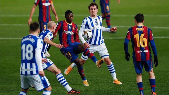Sociedad chơi lấn lướt trong ngày Barca vắng Messi. Ảnh: EFE.