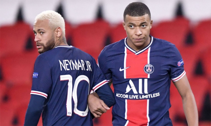 Neymar và Mbappe chỉ còn một năm rưỡi hợp đồng với PSG. Ảnh: Ligue 1.