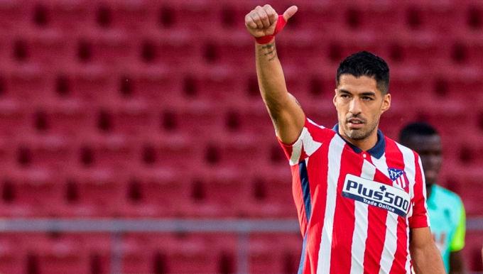 Suarez mừng bàn thắng trong trận Atletico hoà Celta Vigo hôm 8/2. Ảnh: EFE