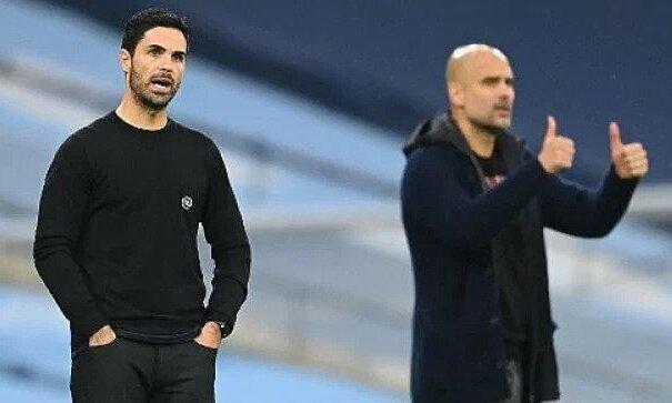 Arteta (trái) đã thua 10 trận cùng Arsenal mùa này, và trước mắt họ là Man City - đội đầu bảng và cũng là nơi Arteta từng làm trợ lý cho Guardiola. Ảnh: AFP