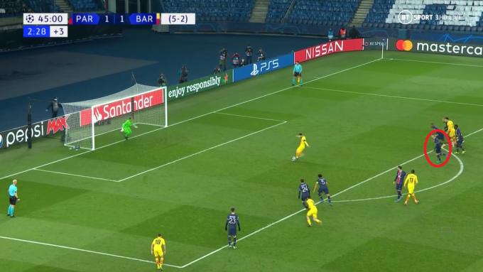 Marco Verratti (khoanh tròn đỏ) xâm nhập vùng cấm - bán kính 9m15 tính từ điểm đặt bóng - trước khi Messi sút. Ảnh chụp màn hình
