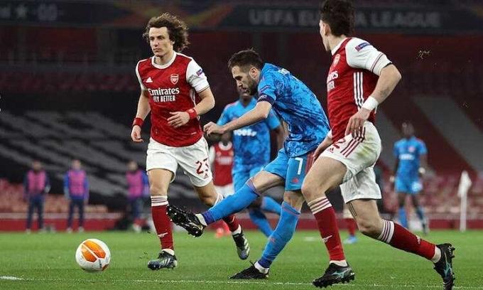 Olympiacos thắng trận thứ hai liên tiếp tại Emirates nhưng vẫn bị loại. Ảnh: Reuters.