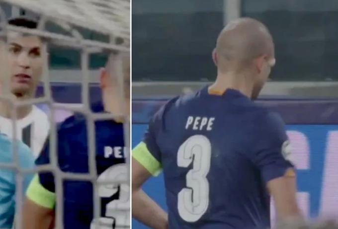 Pepe vẫn đứng vững sau khi bị Ronaldo hăm dọa.
