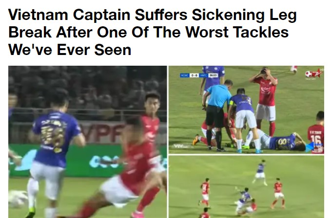 Sportbible gọi pha ra chân của Hoàng Thịnh là một trong những cú tắc bóng tồi tệ nhất. Ảnh chụp màn hình.