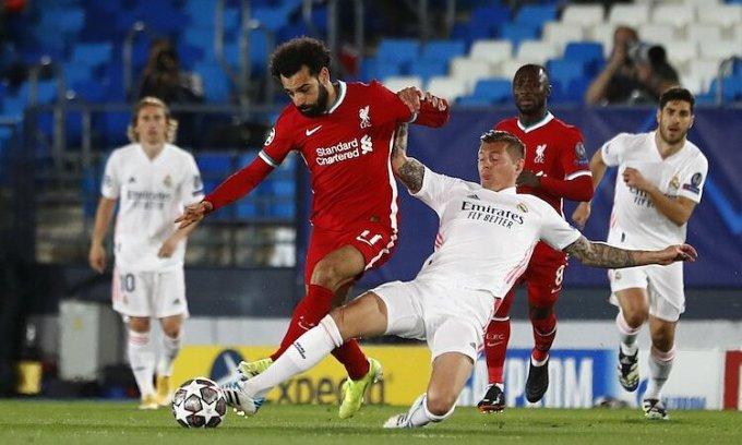 Thua với cách biệt hai bàn trên sân Real khiến Liverpool gặp thử thách lớn ở lượt về. Ảnh: Reuters.