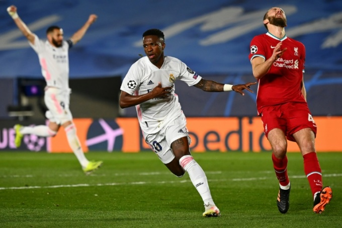 Vinicius, trong một ngày dứt điểm tốt đến bất ngờ như chính anh thừa nhận, đã trừng phạt những khiếm khuyết trong lối chơi của Liverpool. Ảnh: AFP