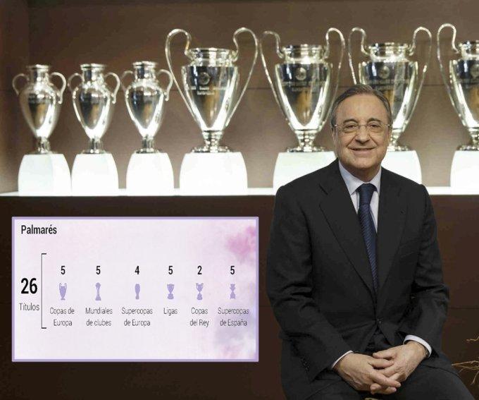 Real đoạt 26 danh hiệu qua hai giai đoạn Perez làm chủ tịch, từ 2000-2006 và 2009 đến nay. Ảnh: AS