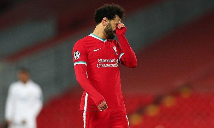 Vắng Ramos, nhưng Salah cũng không thể ghi bàn ở lượt về, khiến Liverpool trắng tay mùa này. Ảnh: Reuters