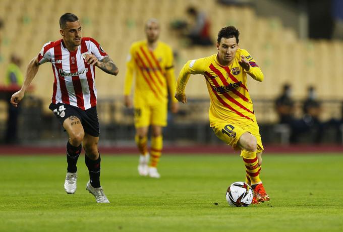 Messi và các đồng đội hoàn toàn áp đảo, nhưng không thể sớm ghi bàn vào lưới Bilbao. Ảnh: Reuters.