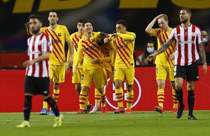 Bắt đầu từ bàn mở tỷ số của Griezmann, Barca bứt hẳn lên để giành chiến thắng. Ảnh: Reuters.