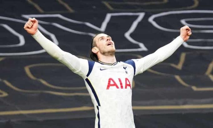Bale gỡ hoà cho Tottenham ở đầu hiệp hai và được Whoscored chấm điểm cao nhất trận. Ảnh: REX.