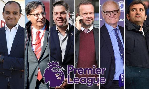 Từ trái qua: Vinai Venkatesham, Tom Werner, Richard Masters, Ed Wooward, Bruce Buck và Ferran Soriano. Ảnh: Sportsmail