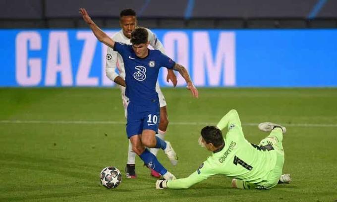 Bàn  thắng  trên sân khách của Pulisic  có  thể  định  đoạt cặp bán kết giữa Chelsea và Real. Ảnh: BPI.