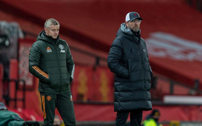 HLV Klopp (phải) và đồng nghiệp Solskjaer trong trận đấu ở FA Cup. Ảnh: Sky.