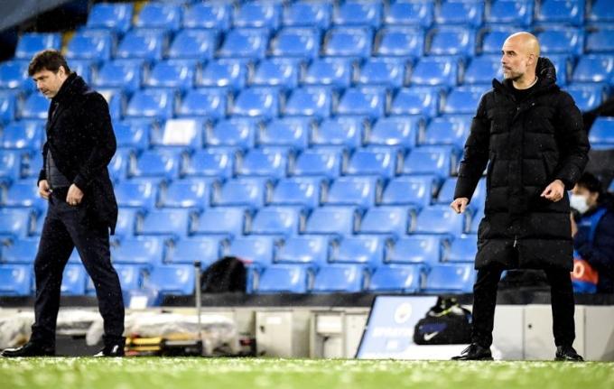 Pep Guardiola thắng Mauricio Pochettino trong cả hai trận bán kết. Ảnh: EFE.