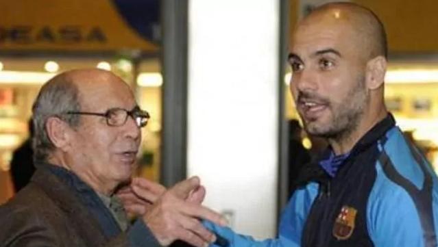 Ông Valenti và con trai, HLV Pep Guardiola. Ảnh: Marca.