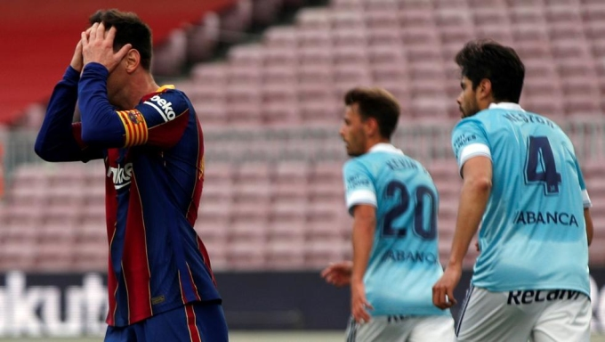 Messi ghi bàn thứ 30 ở La Liga mùa này, nhưng không đủ giúp Barca tránh khỏi thất bại trên sân nhà trước Celta Vigo. Ảnh: EFE