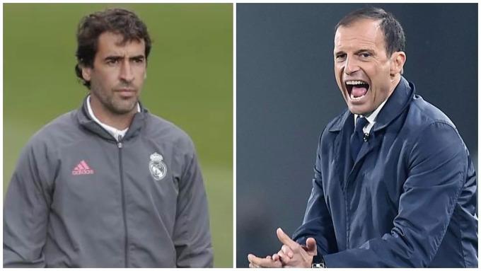 Raul (trái) được CĐV Real ủng hộ kế nhiệm Zidane hơn Allegri. Ảnh: Marca