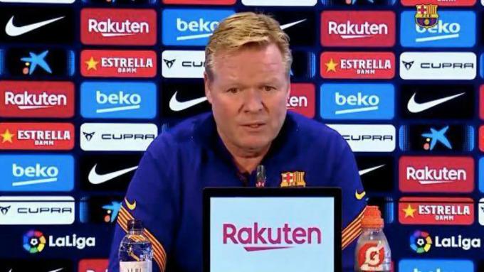 Koeman không hài lòng vì thông tin ông bị sa thải xuất hiện dày đặc trên cách mặt báo, nhưng lãnh đạo Barca vẫn chưa nói gì với ông. Ảnh: Marca