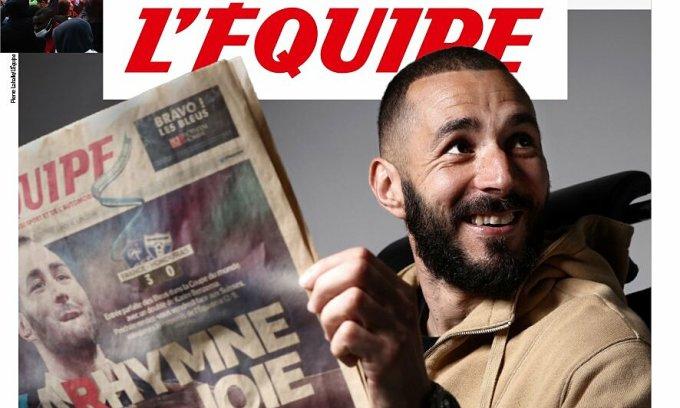 Trang nhất LÉquipe hôm 25/5 đăng hình Karim Benzema - cầu thủ trở lại tuyển Pháp lần đầu kể từ tháng 10/2015. Ảnh: LÉquipe