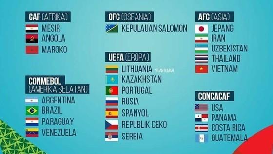 Danh sách 24 đội tuyển tham dự FIFA Futsal World Cup 2021 dự kiến vào tháng 9/2021 tại Lithuani.