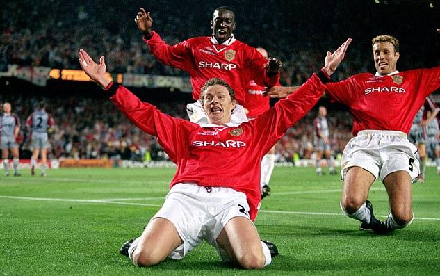 Khoảnh khắc Solskjaer mừng chiến thắng ngược dòng trước Bayern tròn 22 năm trước. Ảnh: Empics Sport.