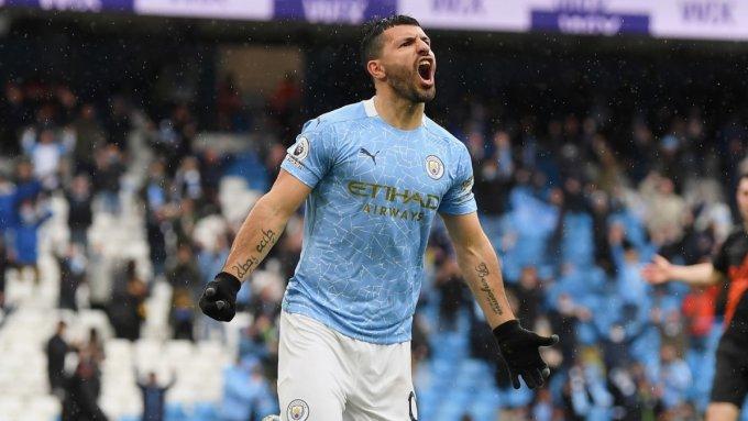 Aguero chia tay Man City với kỷ lục 184 bàn ghi cho CLB ở Ngoại hạng Anh. Ảnh: Twitter / Man City