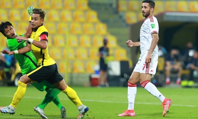 Mabkhout ghi bốn bàn trong hai lần đối đầu Malaysia ở vòng loại World Cup 2022. Ảnh: Lâm Thỏa.