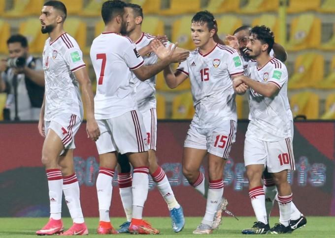 De Lima, một trong ba cầu thủ nhập tịch gốc Brazil của UAE, tỏa sáng khi ghi cú đúp. Ảnh: Lâm Thỏa.