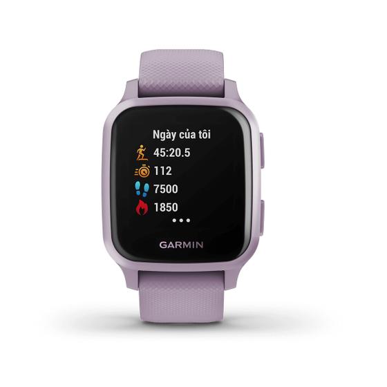 Đồng hồ Garmin Venu Sq màu tím nhạt giá 4,99 triệu đồng.