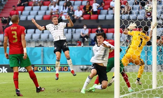 Cánh phải do Semedo trận giữ là hạn chế lớn của Bồ Đào Nha trận này, góp phần gián tiếp giúp cầu thủ chạy cánh trái của tuyển Đức - Robin Gosens (số 20) toả sáng. Ảnh: Reuters