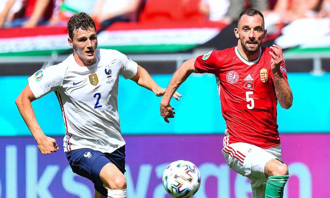 Pavard sẽ là một trong ba cầu thủ Pháp mất suất đá chính ở lượt trận cuối bảng F Euro 2021 trên sân Budapest, Hungary hôm nay. Ảnh: UEFA
