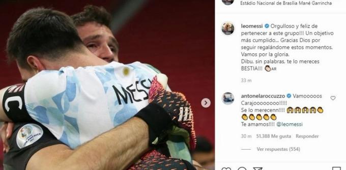 Messi tri ân thủ môn Martinez sau khi anh đẩy ba cú sút luân lưu của Colombia ở bán kết Copa America. Ảnh: Ole