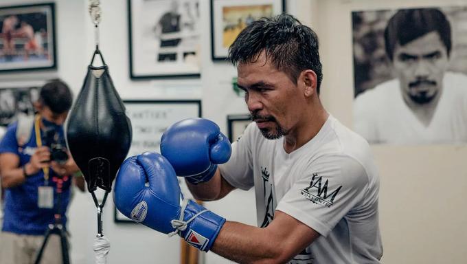 Pacquiao đang tích cực tập luyện tại Los Angeles, Mỹ để chuẩn bị thượng đài vào trung tuần tháng Tám. Ảnh: Marca