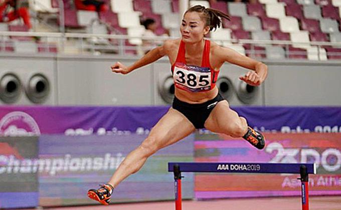 Quách Thị Lan là đương kim vô địch châu Á 400m rào nữ, nhưng vẫn còn kém xa các chân chạy hàng đầu Olympic. Kỷ lục thế giới nội dung này vừa bị Sydney McLaughlin phá vỡ hôm 27/6 với thành tích 51,90 giây. Ảnh: AAC