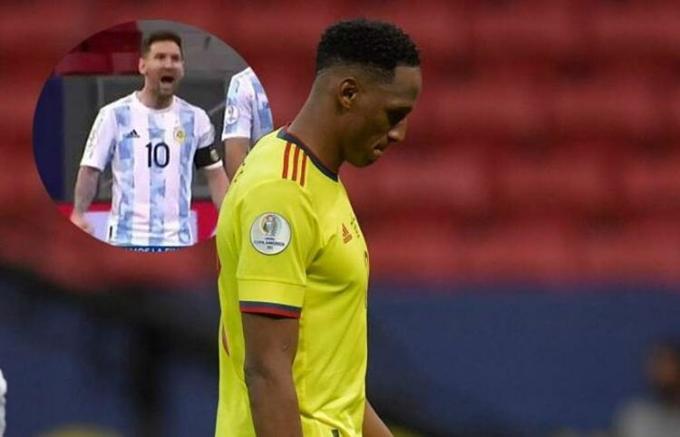 Messi ăn mừng khi Mina đá hỏng phạt đền ở bán kết Copa America. Ảnh: Marca