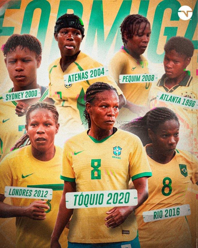 Formiga trong màu áo tuyển nữ Brazil bảy lần dự Olympic. Ảnh: TNT