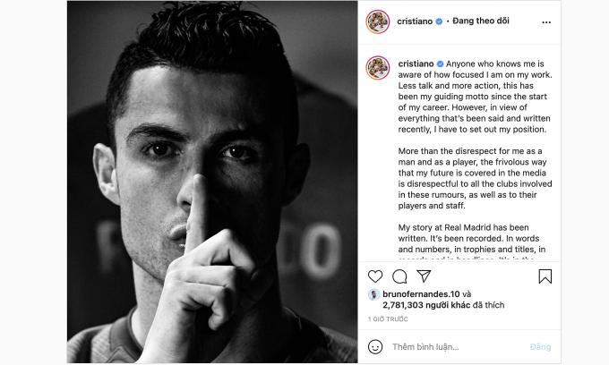 Bài đăng của Ronaldo trên Instagram hôm 17/8, kèm hình ảnh đang ra dấu im lặng. Ảnh: chụp màn hình