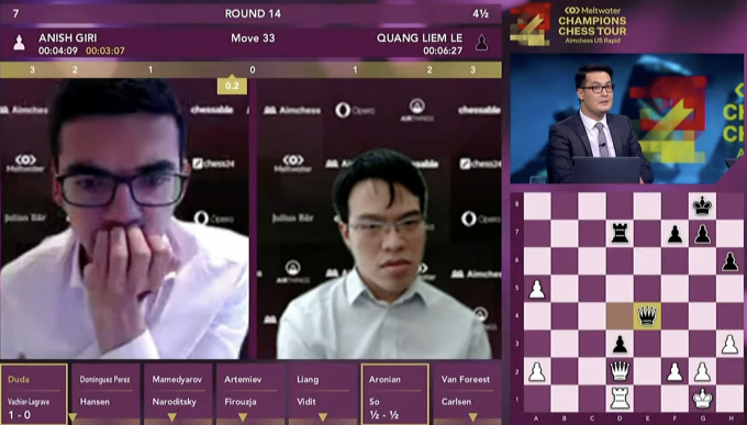 Quang Liêm kết thúc Aimchess US ở vị trí 13, gần bằng thứ bậc Elo của anh so với các kỳ thủ dự giải. Ảnh: chụp màn hình