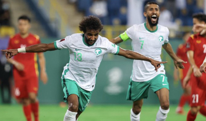Al-Shahrani ăn mừng bàn thắng trong trận đấu với Việt Nam ngày 2/9.
