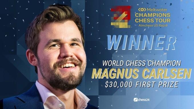 Carlsen lần thứ ba vô địch một chặng của Champions Chess Tour 2021. Ảnh: Chess24
