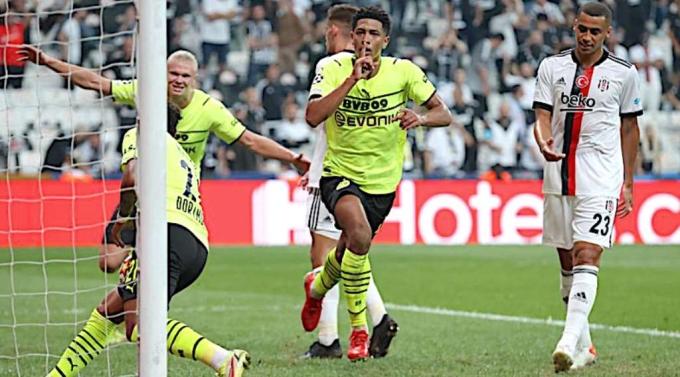 Bellingham đặt tay lên môi mừng bàn thắng vào lưới Besiktas. Ảnh: Reuters.
