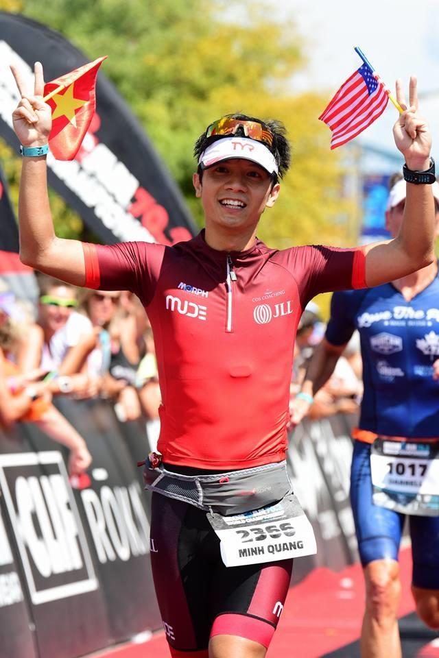 HLV Minh Quang về đích ở giải Ironman 70.3 World Championship năm 2017. Anh từng hai lần dự sân chơi này, và nhiều lần khác tranh tài ở các giải thuộc hệ thống Ironman 70.3. Ảnh:  Nhân vật cung cấp
