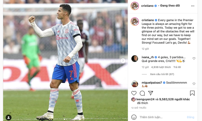 Bài đăng của Ronaldo trên Instagram kết thúc bằng biểu tượng cánh tay gồng. Ảnh: chụp màn hình