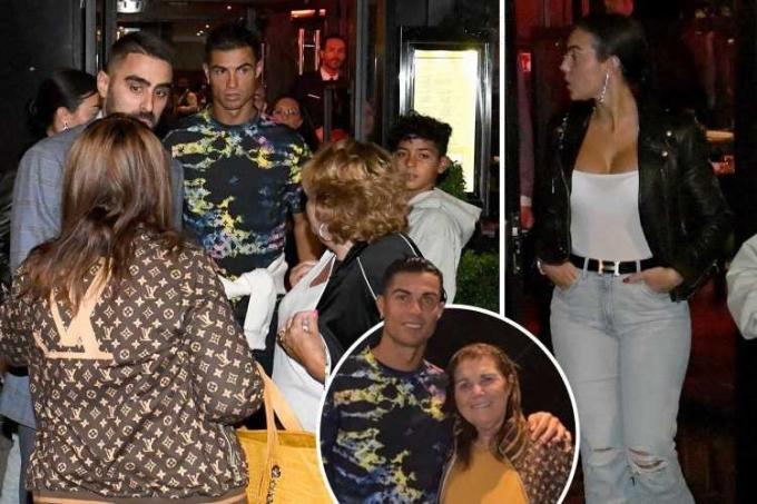 Ronaldo đưa mẹ cùng Georgina và gia đình đi ăn mừng việc anh ra mắt ấn tượng ở Man Utd, sau trận thắng Newcastle 4-1 hôm 12/9.